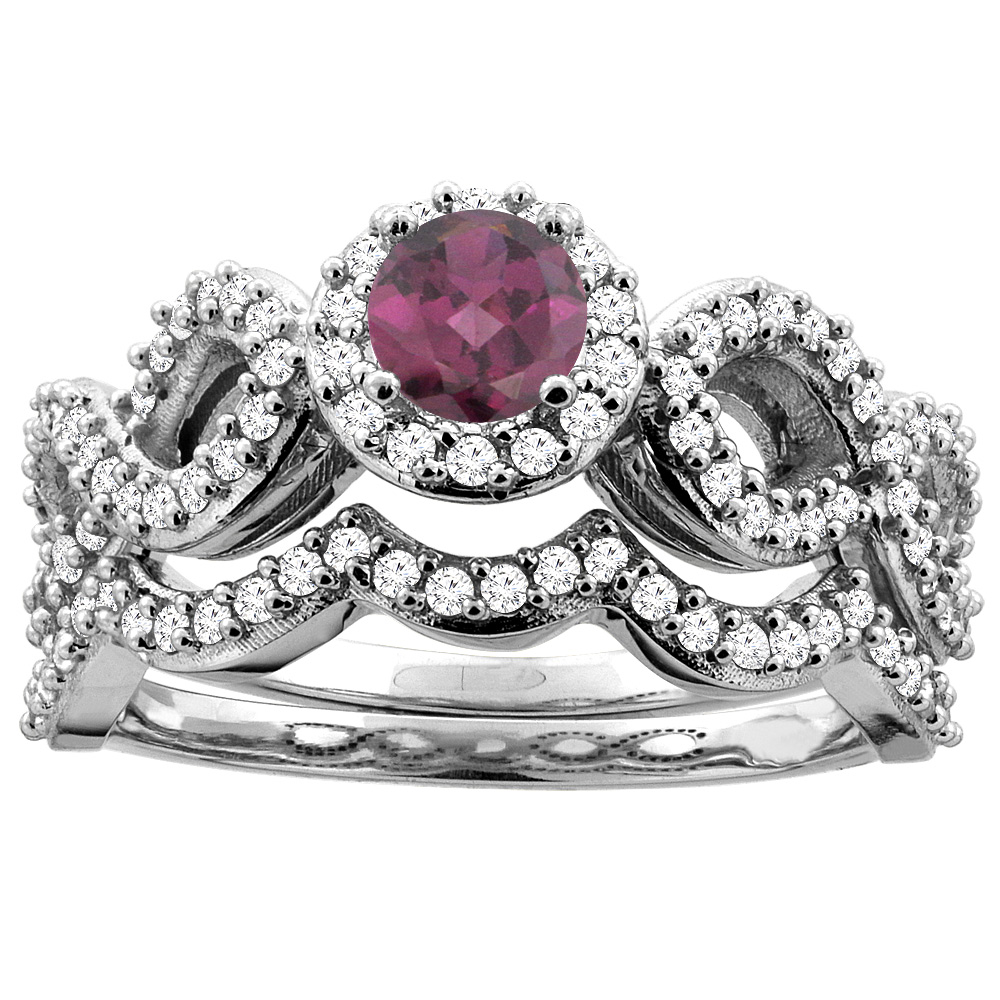10K White Gold Natural Rhodolite Engagement Halo Ring Round 5mm Diamond 2-piece Accents, sizes 5 - 10