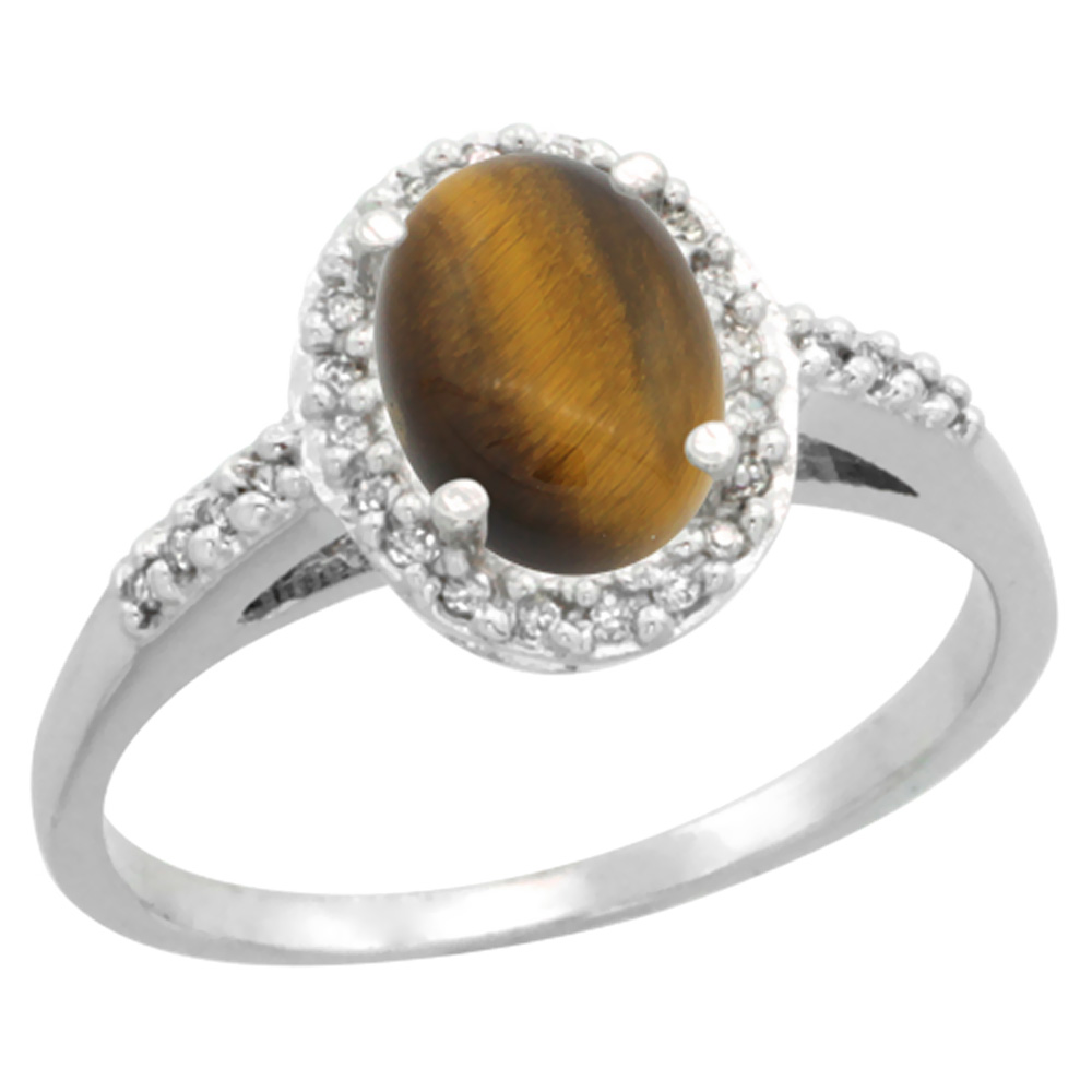 14K White Gold Diamond Natural Tiger Eye Ring Oval 8x6mm, sizes 5-10
