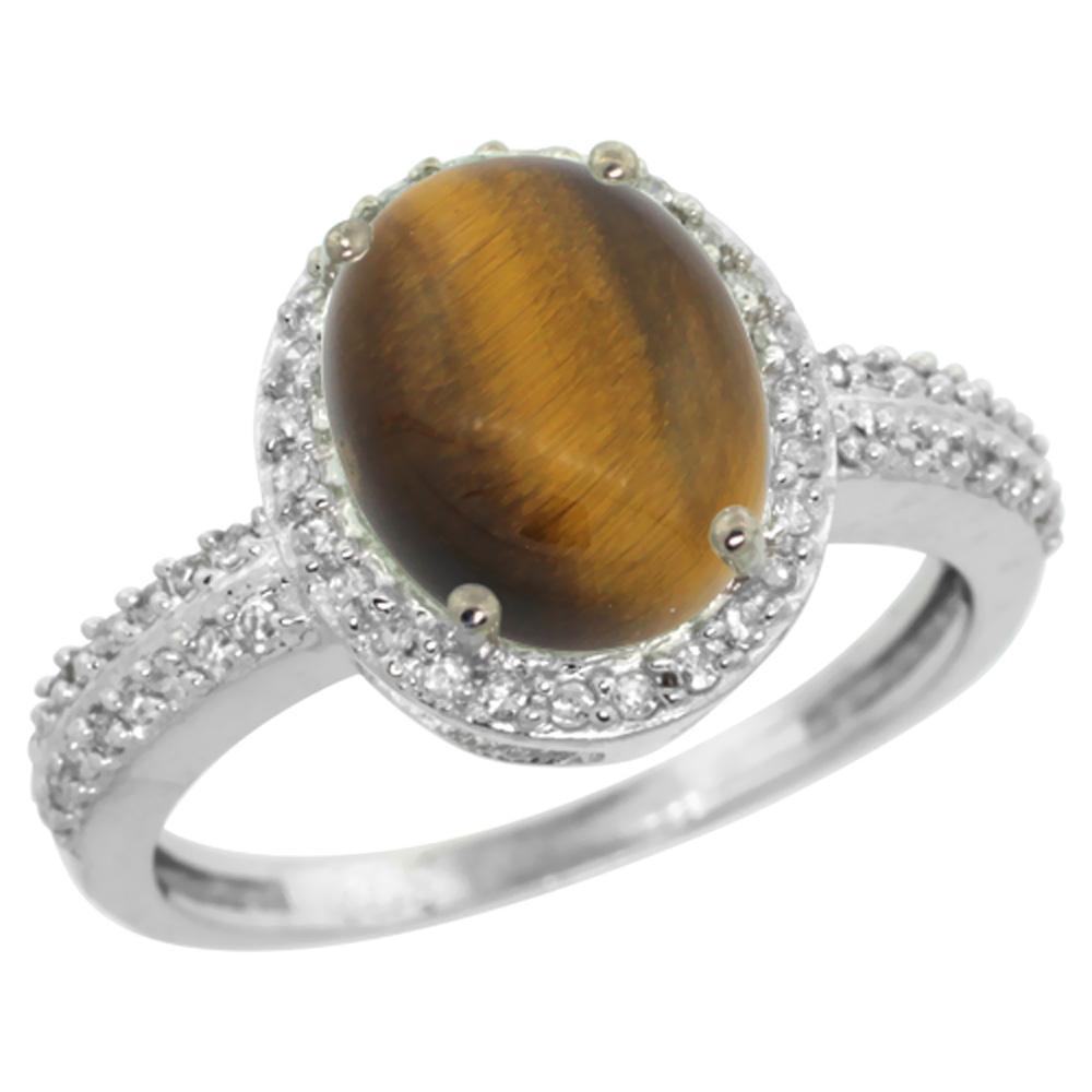 14K White Gold Diamond Natural Tiger Eye Engagement Ring Oval 10x8mm, sizes 5-10