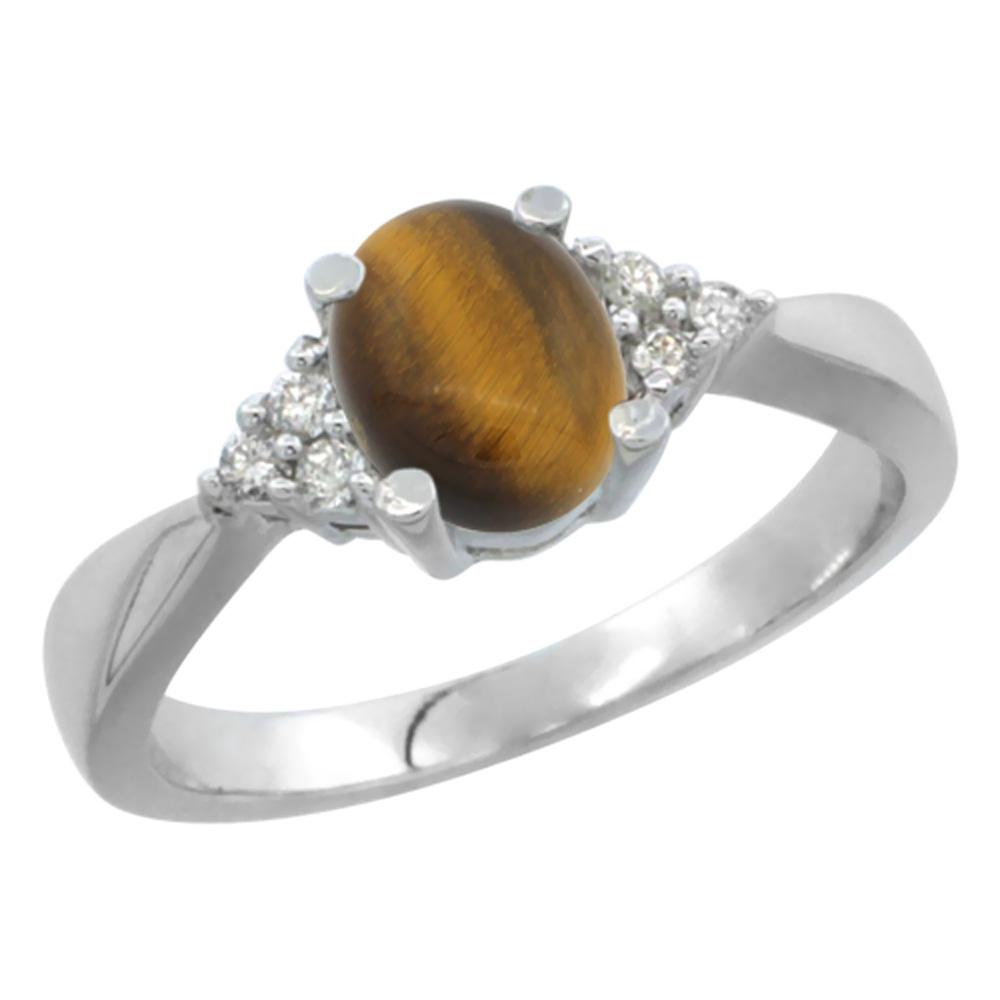 14K White Gold Diamond Natural Tiger Eye Engagement Ring Oval 7x5mm, sizes 5-10