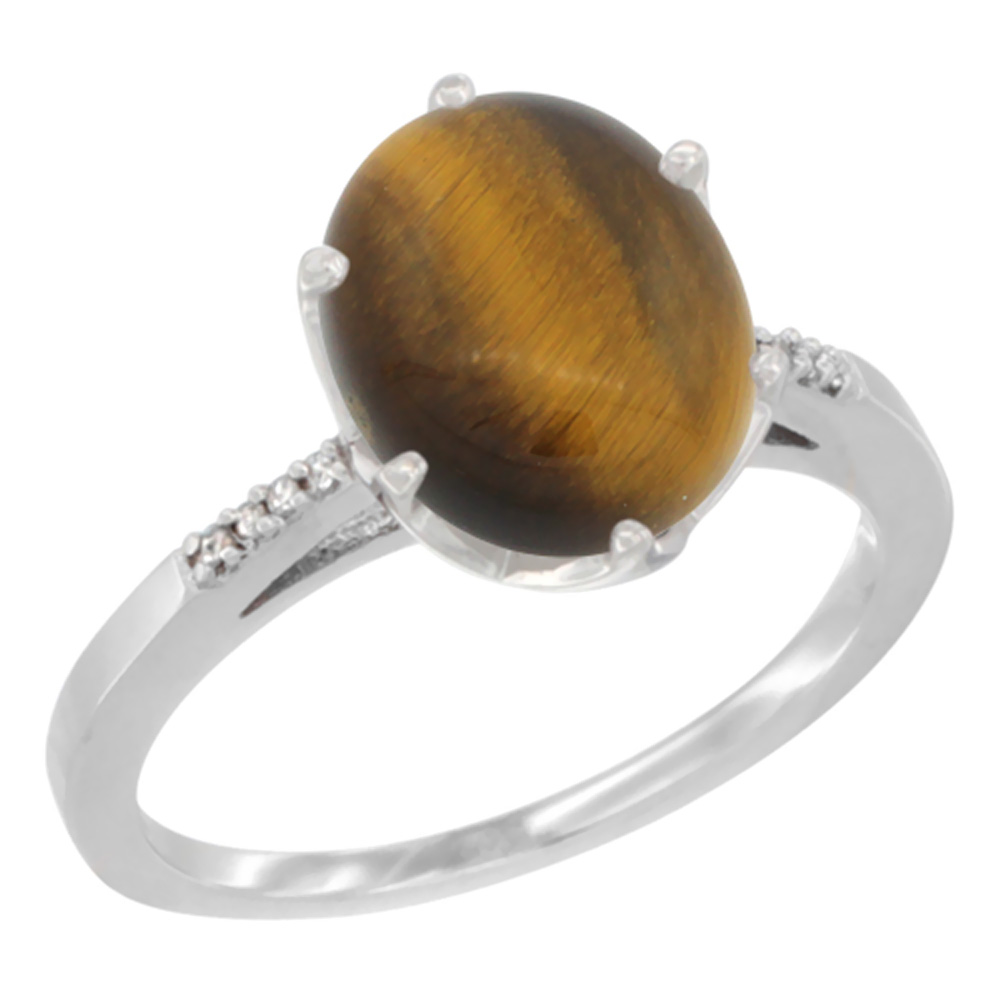 14K White Gold Natural Tiger Eye Engagement Ring 10x8 mm Oval, sizes 5 - 10