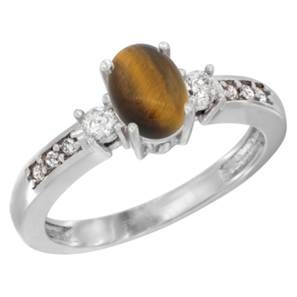 14K White Gold Diamond Natural Tiger Eye Engagement Ring Oval 7x5 mm, sizes 5 - 10