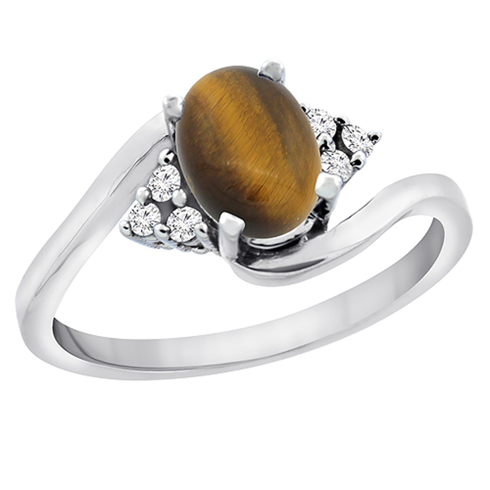 14K White Gold Diamond Natural Tiger Eye Engagement Ring Oval 7x5mm, sizes 5 - 10