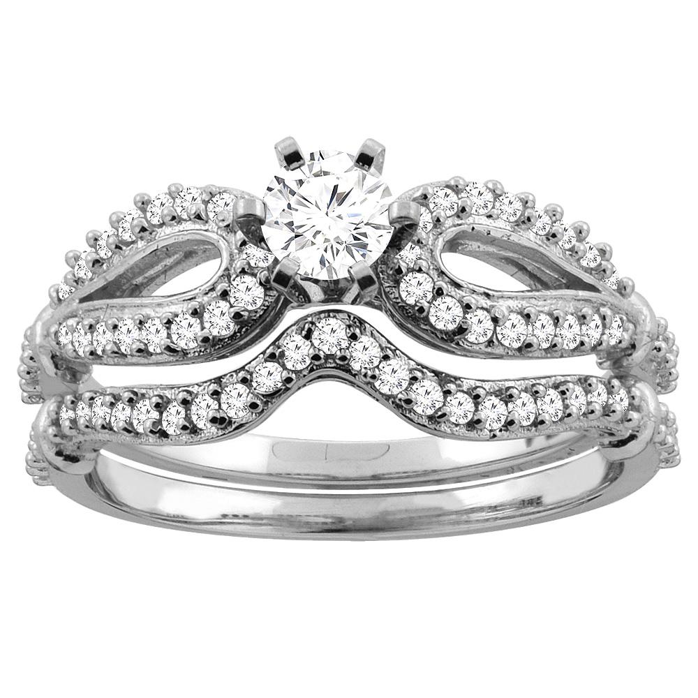 14K Gold 0.59 cttw Round Diamond 2-Piece Bridal Ring Set, sizes 5 - 10