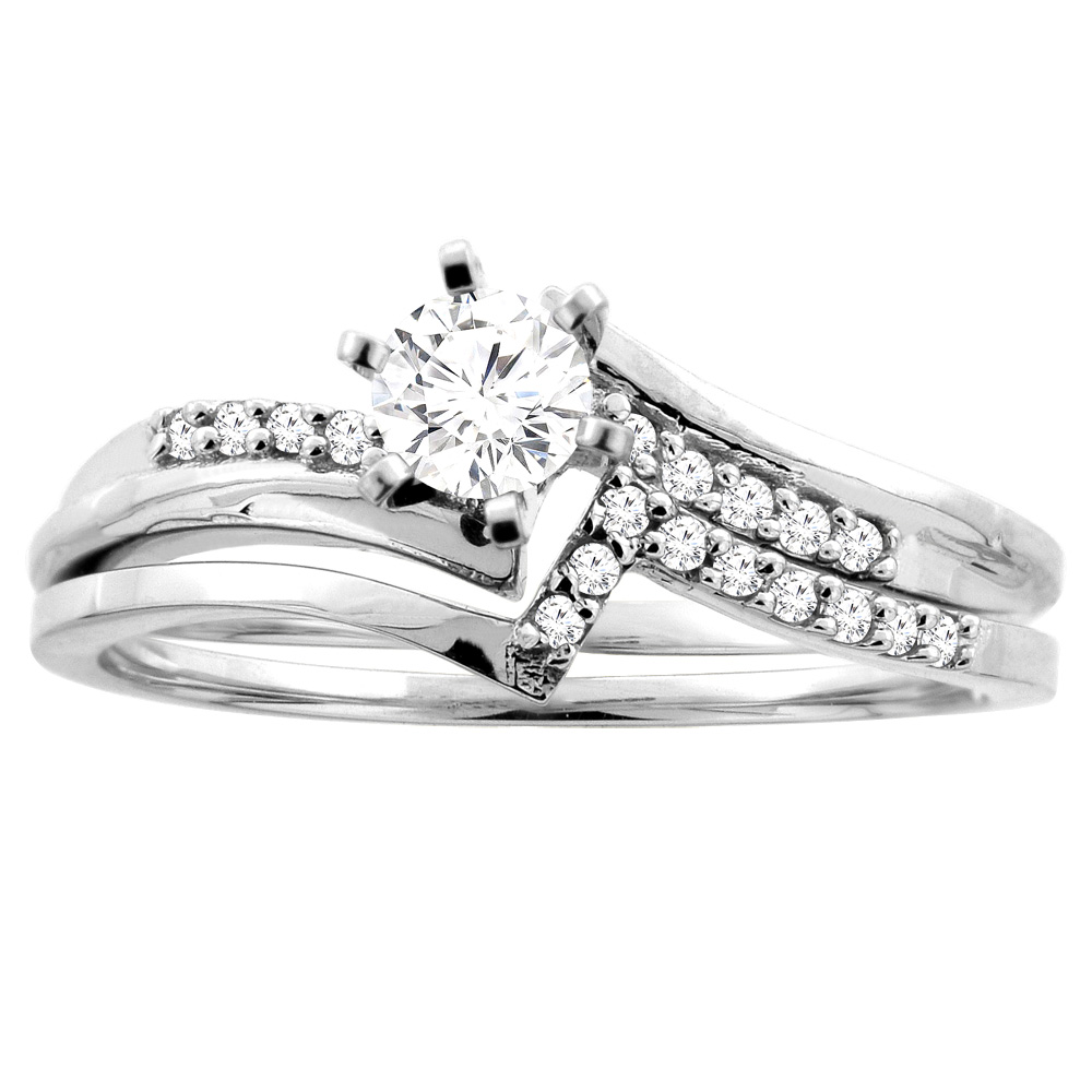 14K Gold 0.32 cttw. Round Diamond 2-piece Bridal Ring Set, sizes 5 - 10