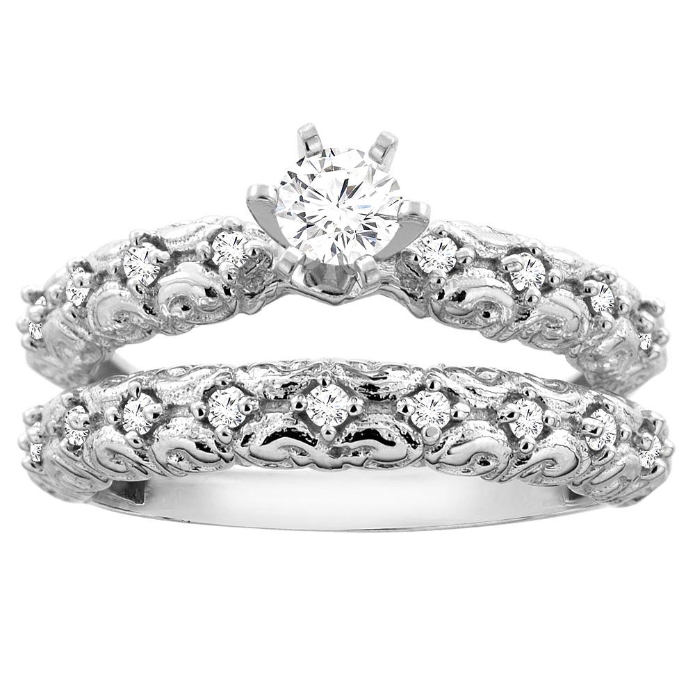 10K Gold 0.41 cttw. Round Diamond 2-piece Bridal Ring Set, sizes 5 - 10
