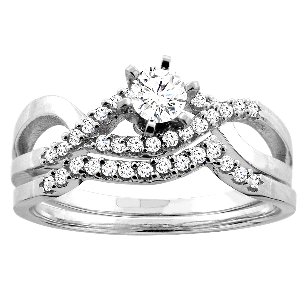 10K Gold 0.45 cttw. Round Diamond 2-piece Bridal Ring Set, sizes 5 - 10