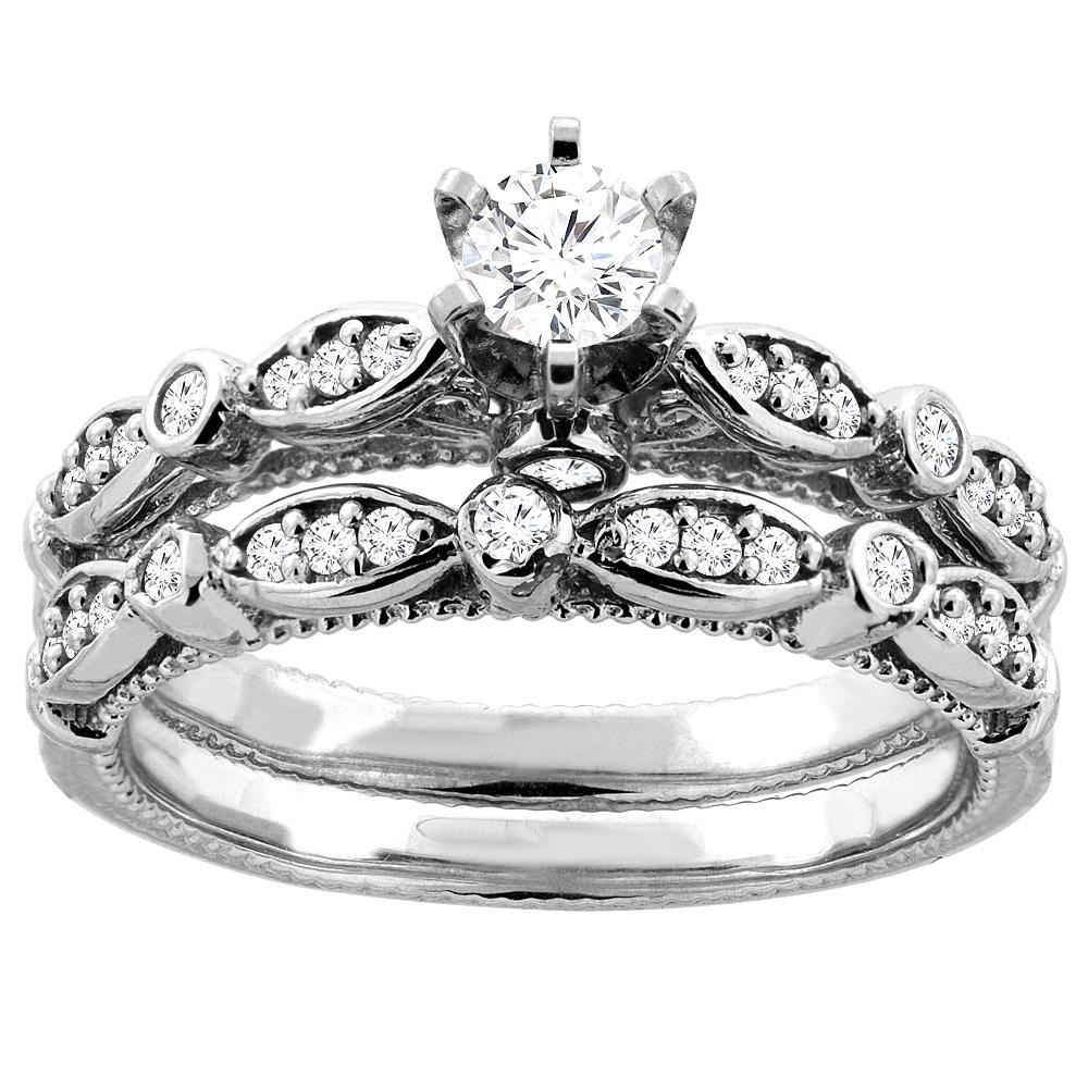 10K White Gold 0.58 cttw. Round Diamond 2-piece Bridal Ring Set, sizes 5 - 10