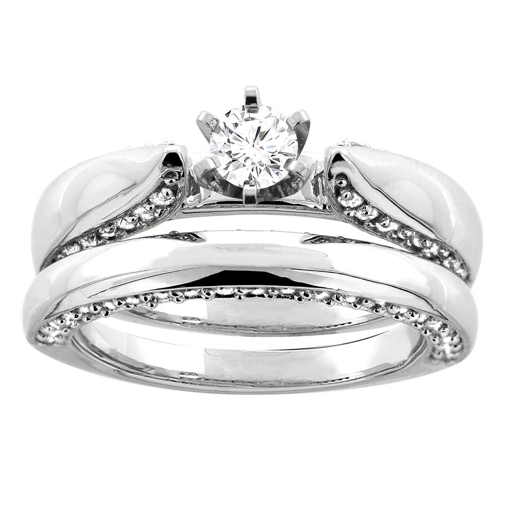 10K White Gold 1.18 cttw. Round Diamond 2-piece Bridal Ring Set, sizes 5 - 10