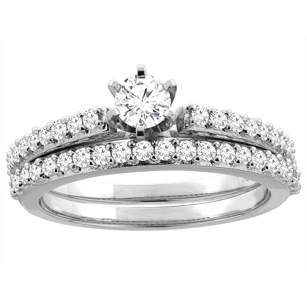 10K White Gold 0.85 cttw Diamond 2-piece Bridal Ring Set, sizes 5 - 10