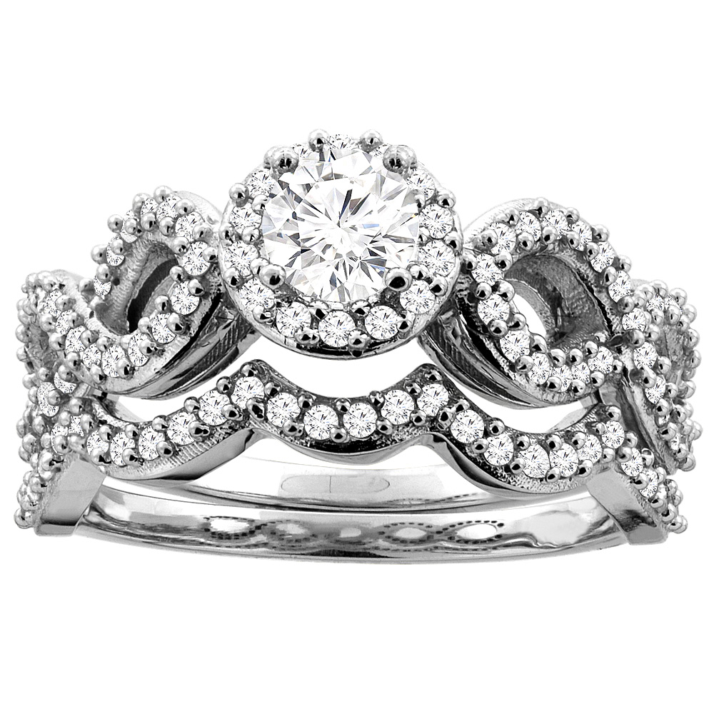 10K White Gold 0.85 cttw Round Diamond 2-piece Halo Bridal Ring Set, sizes 5 - 10