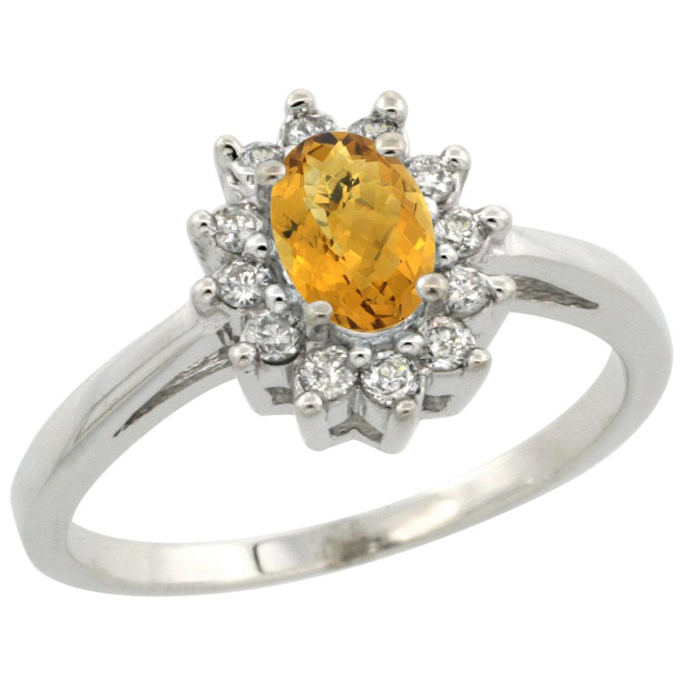 10K White Gold Natural Whisky Quartz Flower Diamond Halo Ring Oval 6x4 mm, sizes 5 10