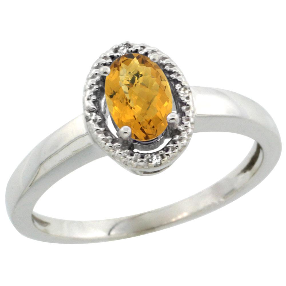 10K White Gold Diamond Halo Natural Whisky Quartz Engagement Ring Oval 6X4 mm, sizes 5-10