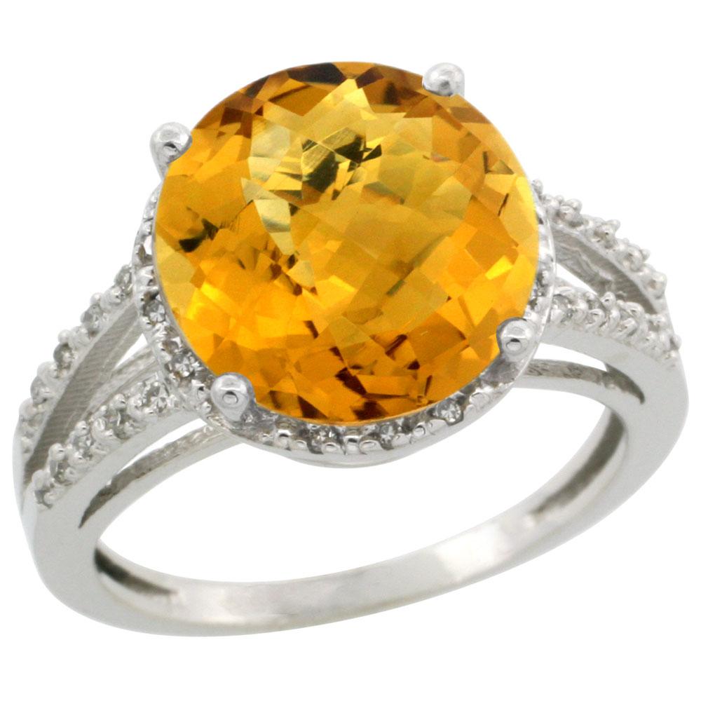 10K White Gold Diamond Natural Whisky Quartz Ring Round 11mm, sizes 5-10