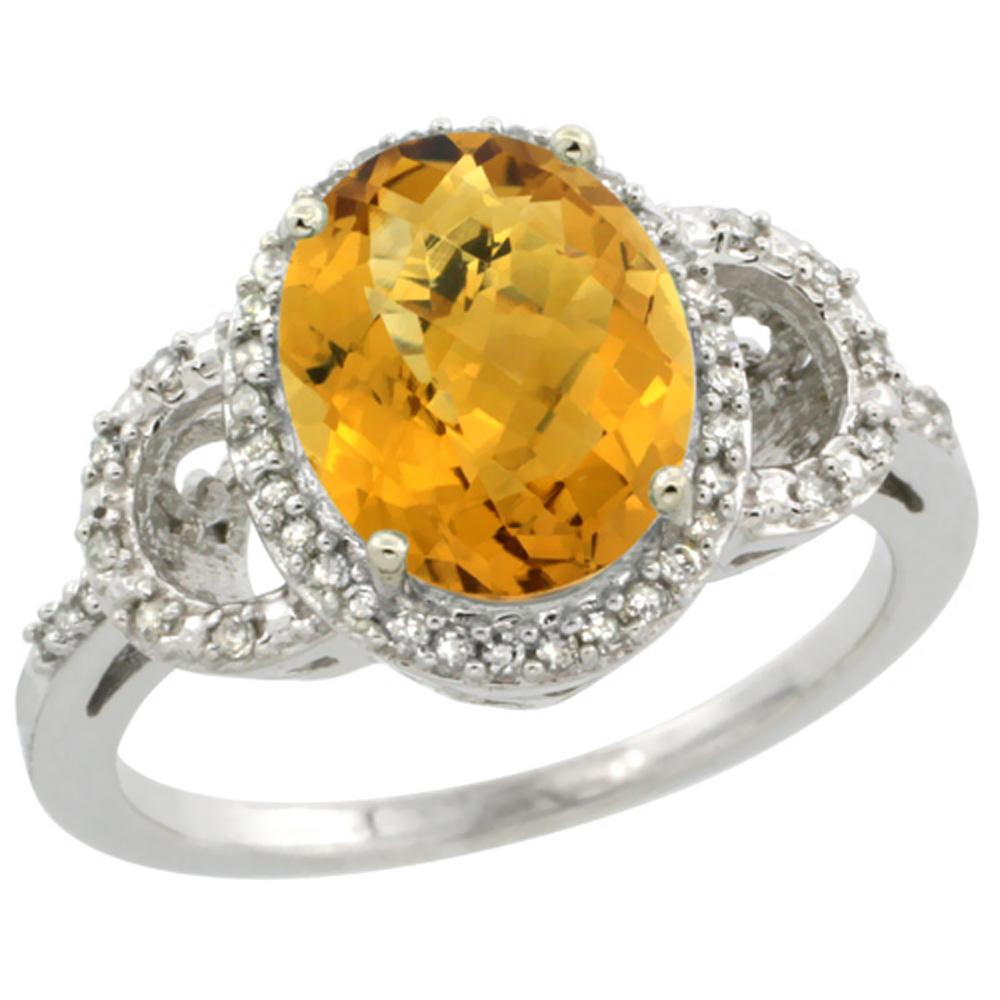 10K White Gold Diamond Natural Whisky Quartz Engagement Ring Oval 10x8mm, sizes 5-10