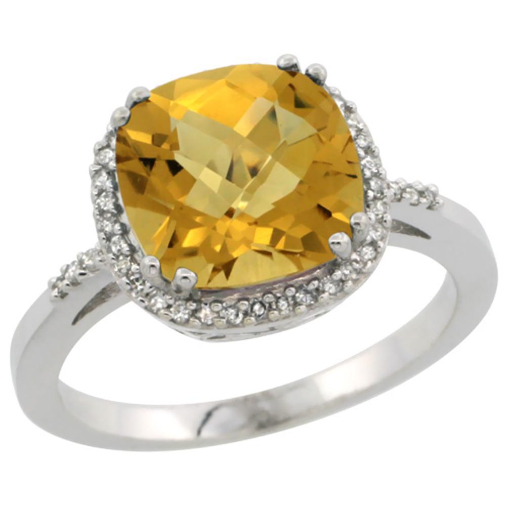 10K White Gold Diamond Natural Whisky Quartz Ring Cushion-cut 9x9mm, sizes 5-10