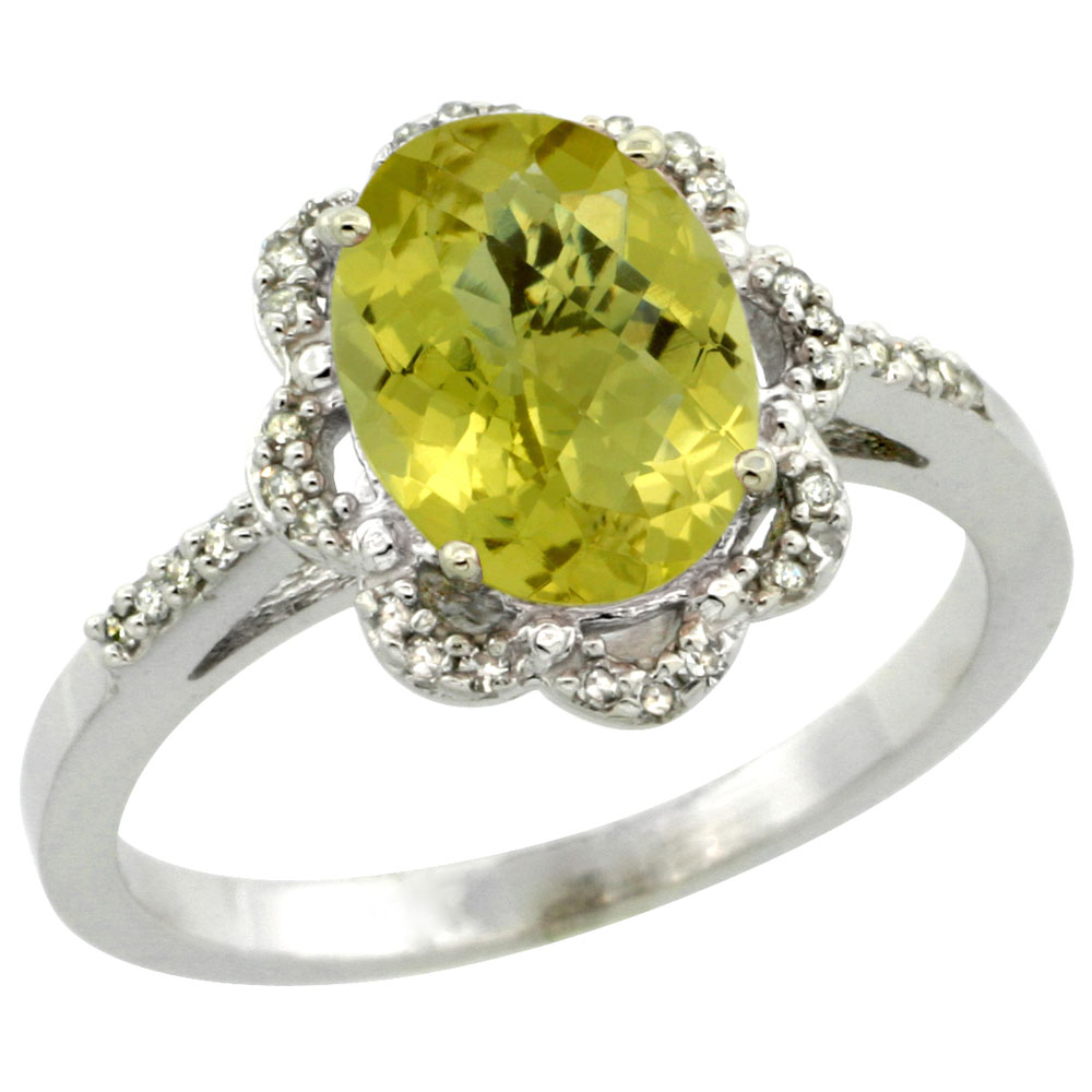 14K White Gold Diamond Halo Natural Lemon Quartz Engagement Ring Oval 9x7mm, sizes 5-10