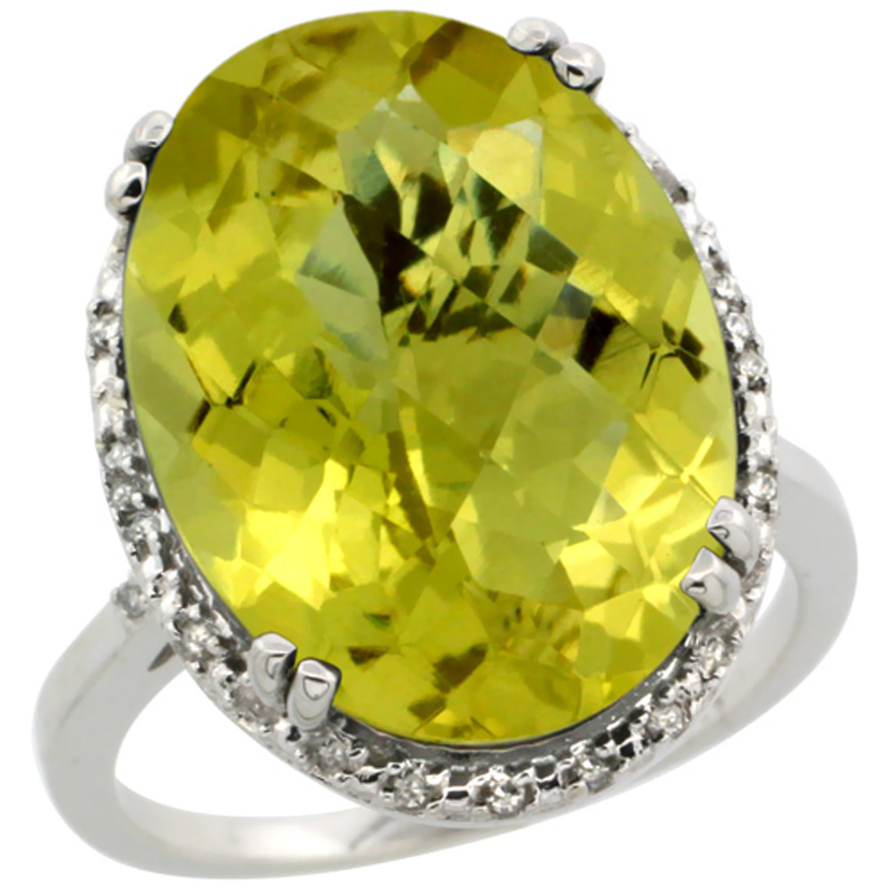 14K White Gold Natural Lemon Quartz Ring Large Oval 18x13mm Diamond Halo, sizes 5-10