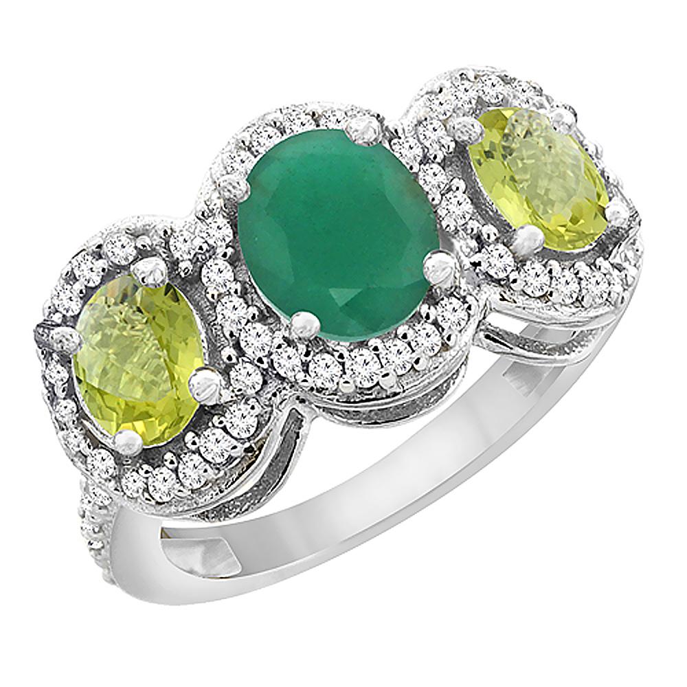 14K White Gold Natural Cabochon Emerald & Lemon Quartz 3-Stone Ring Oval Diamond Accent, sizes 5 - 10