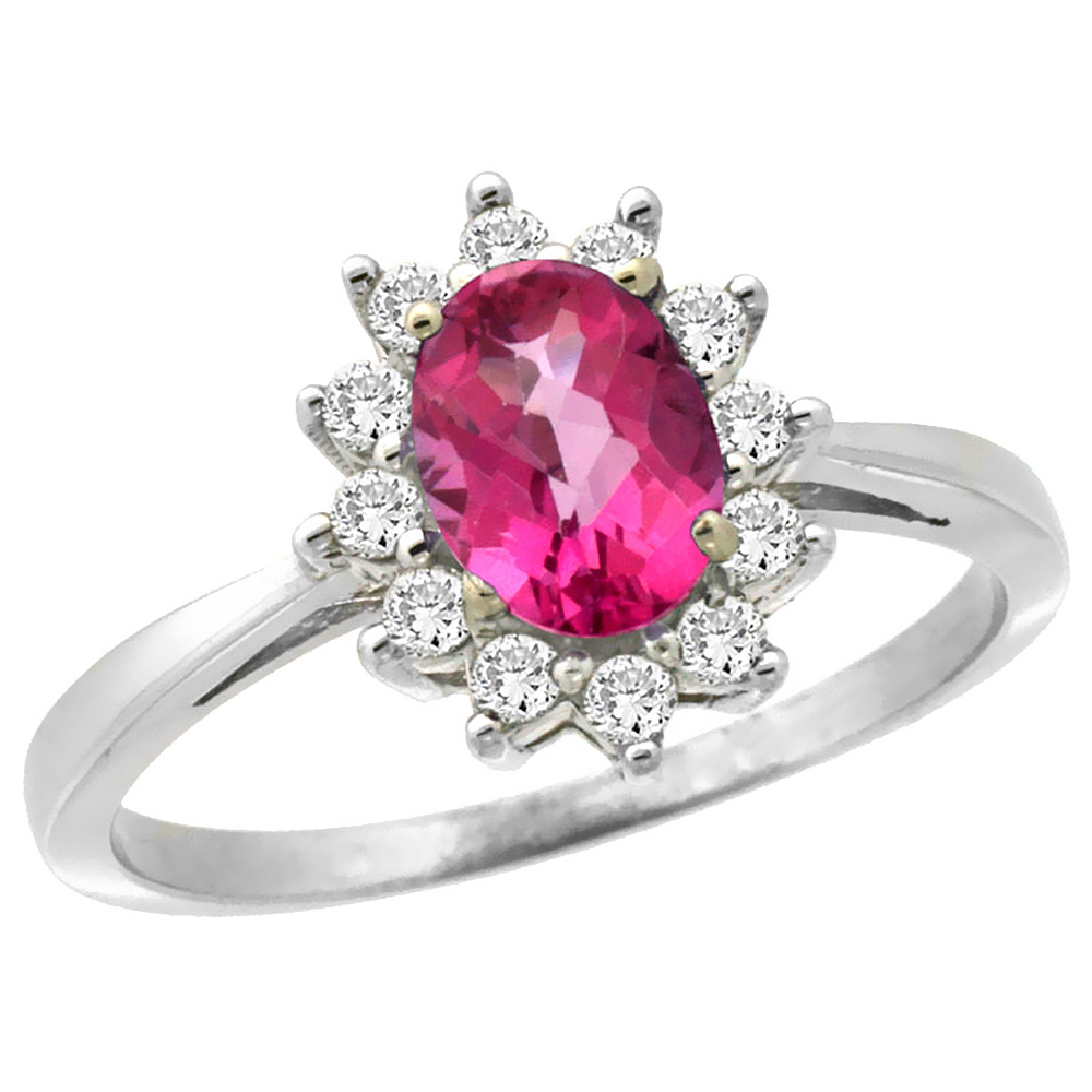 10k White Gold Natural Pink Sapphire Engagement Ring Oval 7x5mm Diamond Halo, sizes 5-10