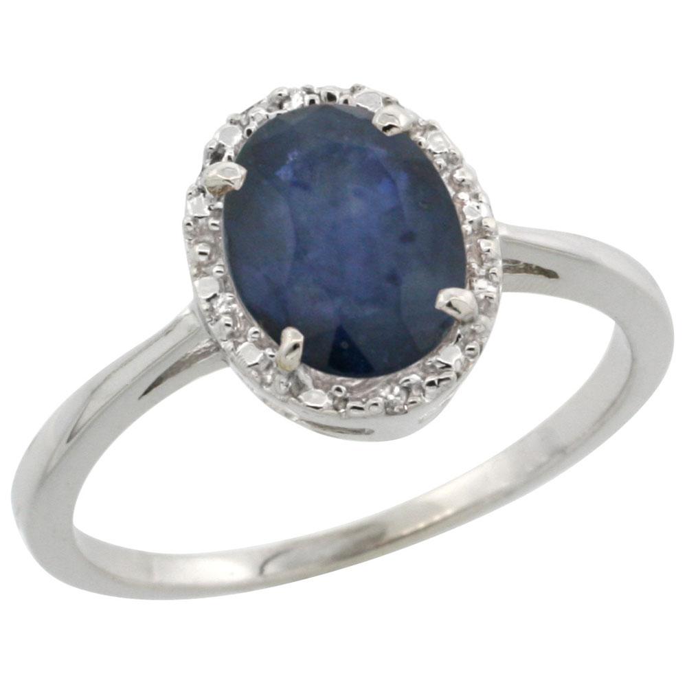 14K White Gold Natural Australian Sapphire Ring Oval 8x6 mm Diamond Halo, sizes 5-10