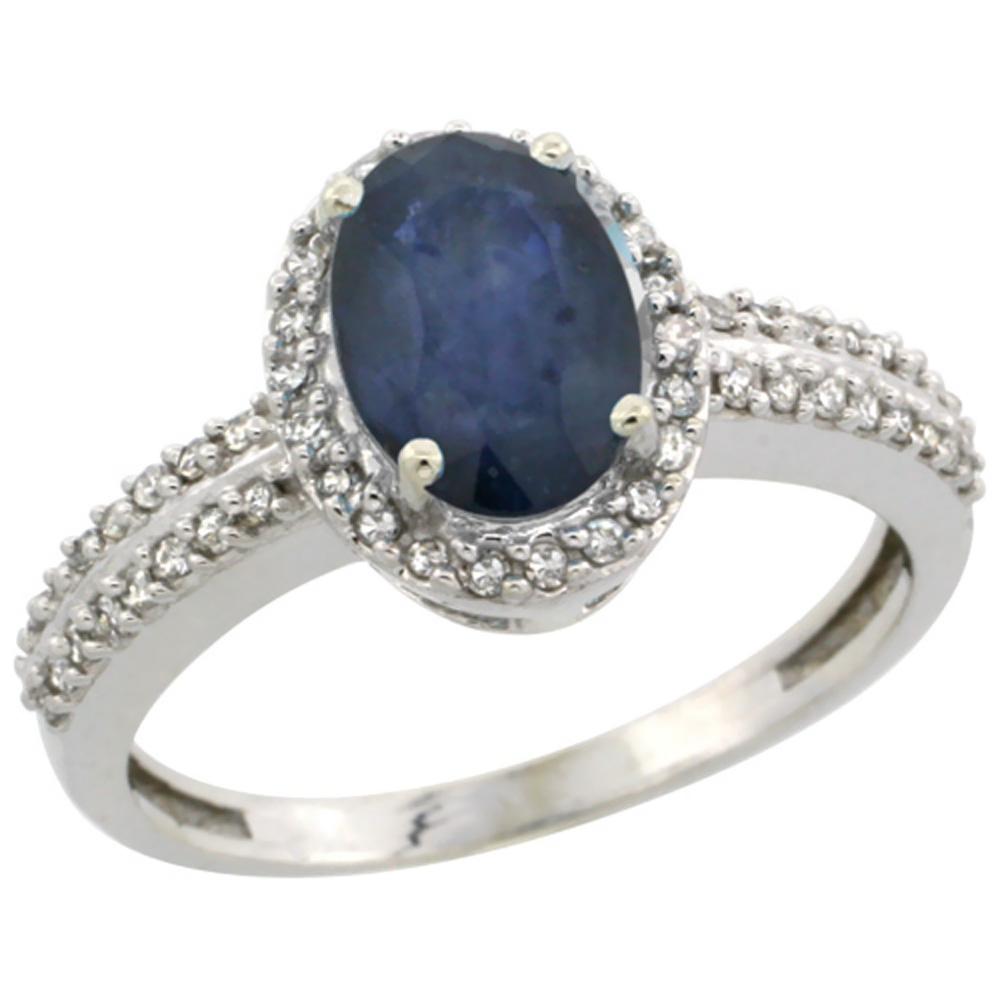 14K White Gold Natural Australian Sapphire Ring Oval 8x6mm Diamond Halo, sizes 5-10