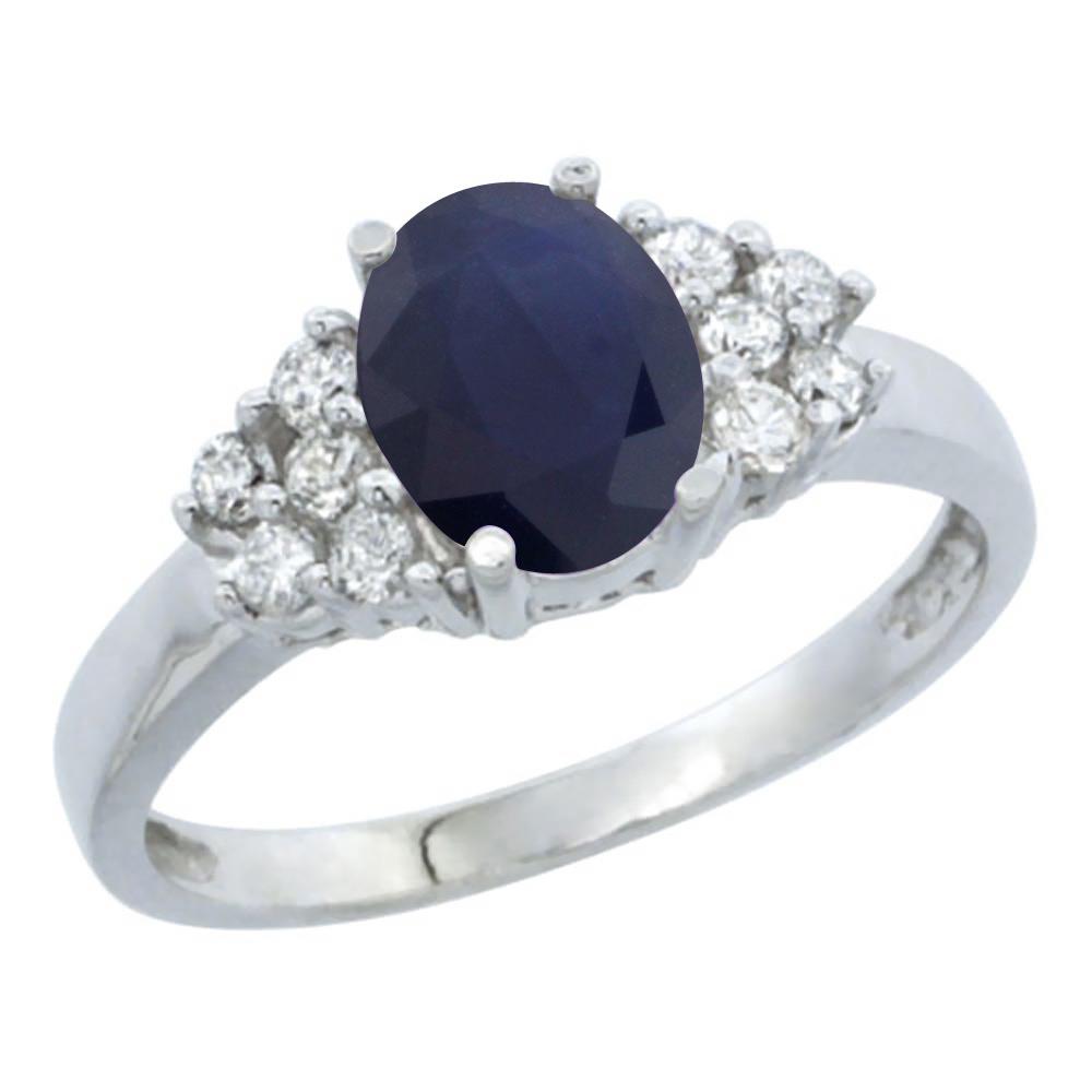 14K White Gold Natural Australian Sapphire Ring Oval 8x6mm Diamond Accent, sizes 5-10