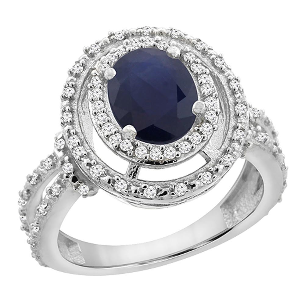 14K Yellow Gold Natural Australian Sapphire Ring Oval 8x6 mm Double Halo Diamond, sizes 5 - 10