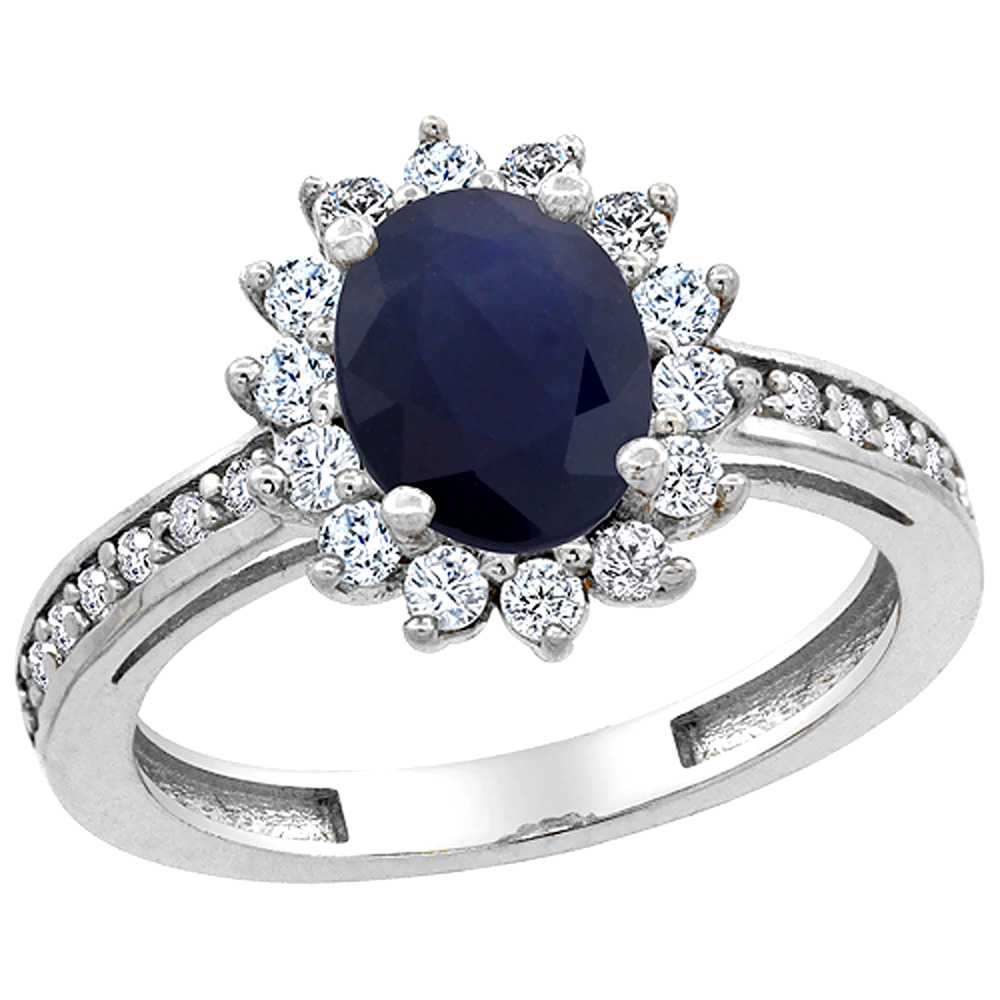 14K White Gold Natural Australian Sapphire Floral Halo Ring Oval 8x6mm Diamond Accents, sizes 5 - 10