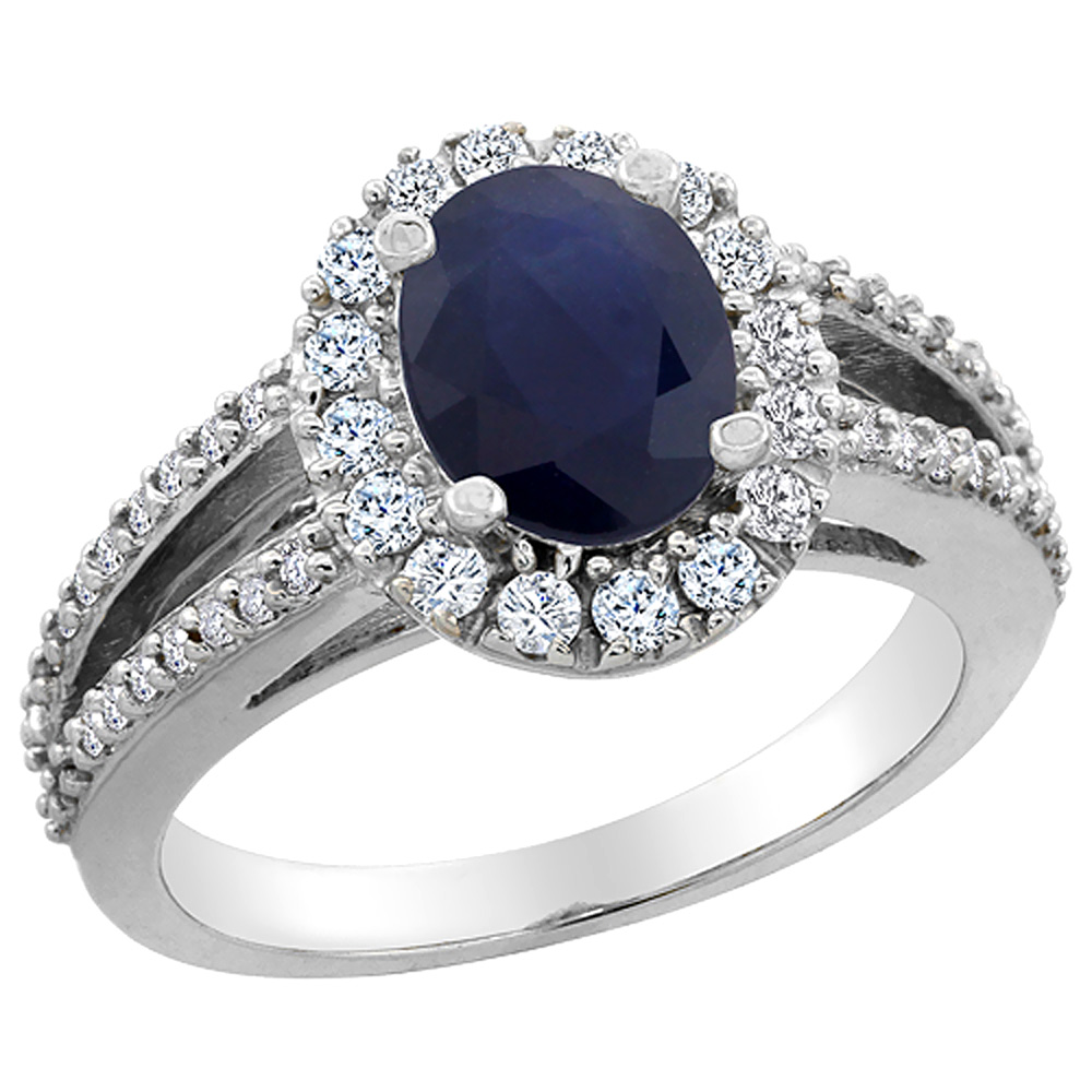 14K White Gold Natural Australian Sapphire Halo Ring Oval 8x6 mm with Diamond Accents, sizes 5 - 10