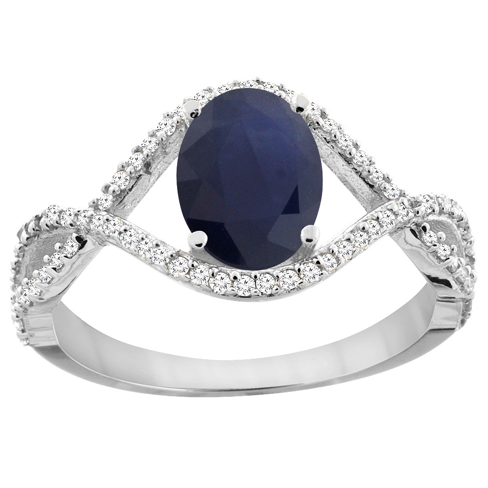 14K White Gold Natural Australian Sapphire Ring Oval 8x6 mm Infinity Diamond Accents, sizes 5 - 10