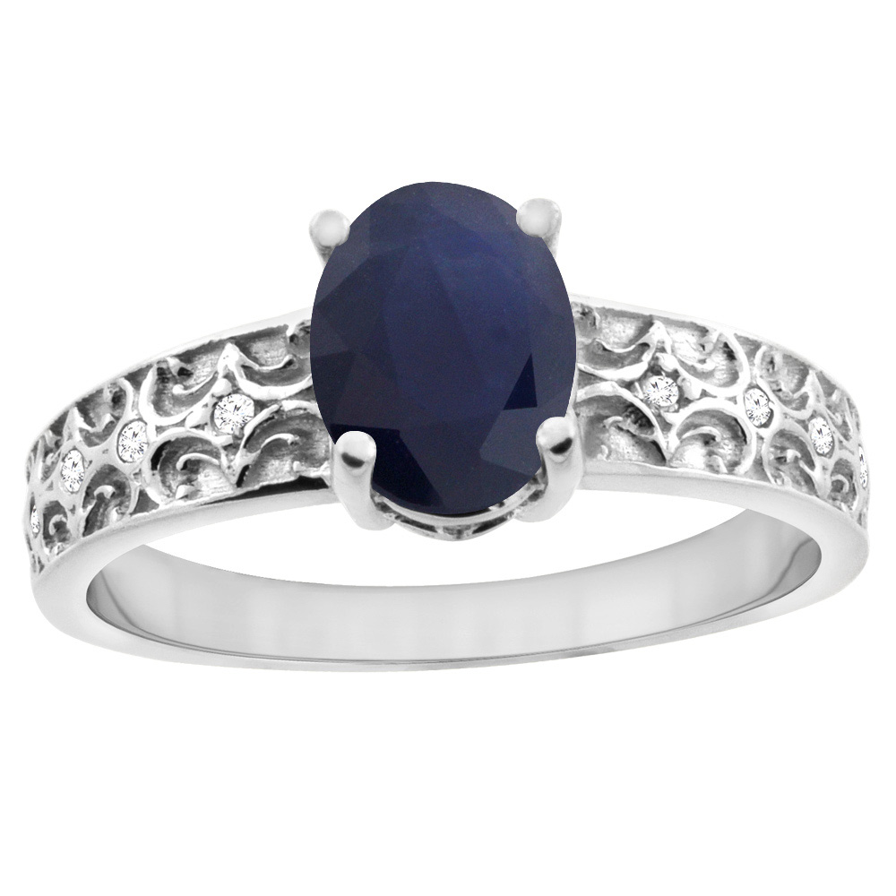14K White Gold Natural Australian Sapphire Ring Oval 8x6 mm Diamond Accents, sizes 5 - 10