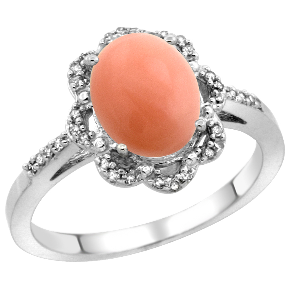 14K White Gold Diamond Halo Natural Coral Engagement Ring Oval 9x7mm, sizes 5-10