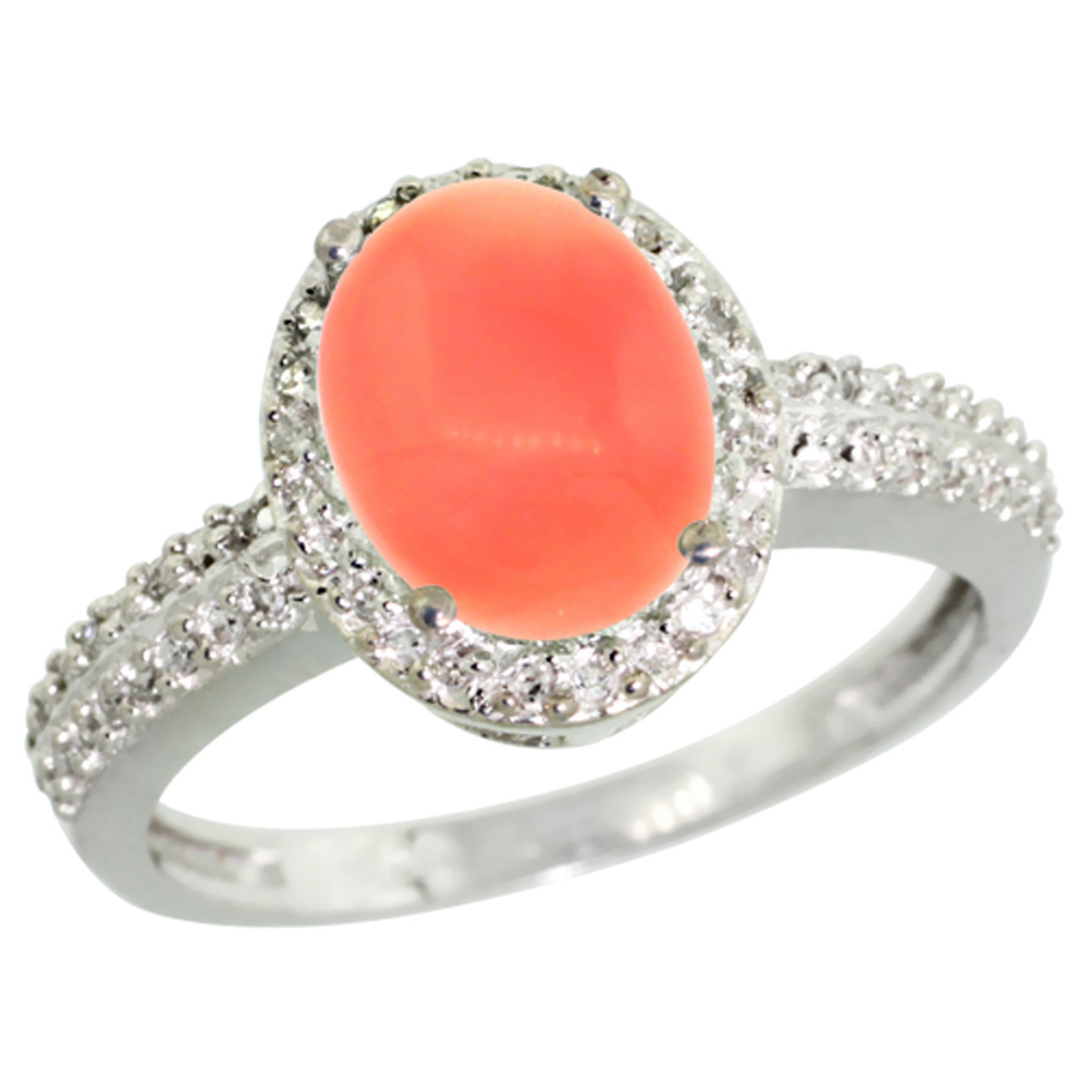14K White Gold Diamond Natural Coral Ring Oval 9x7mm, sizes 5-10