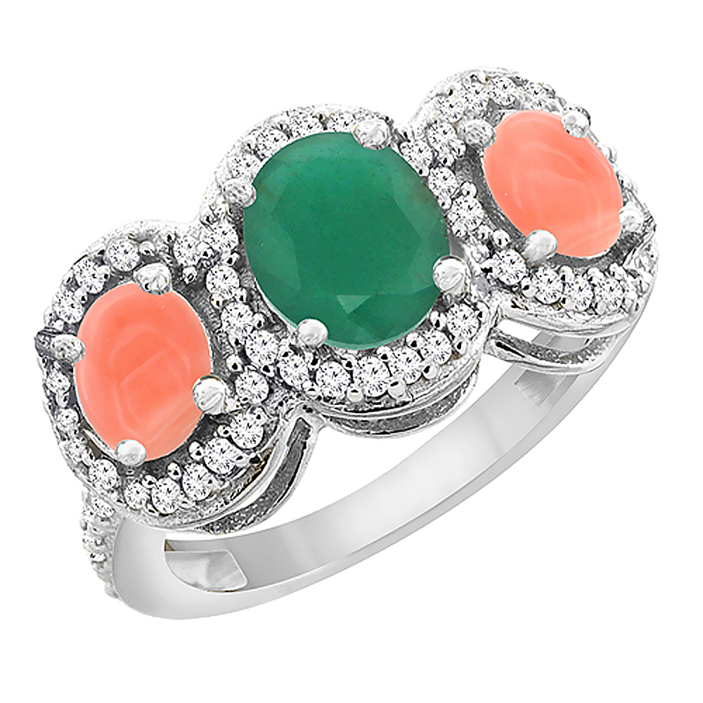 14K White Gold Natural Cabochon Emerald & Coral 3-Stone Ring Oval Diamond Accent, sizes 5 - 10