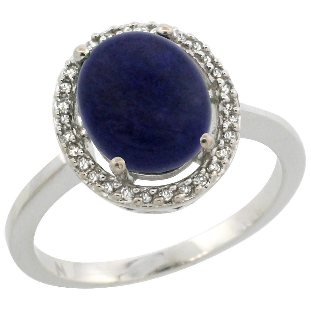 10K White Gold Diamond Halo Natural Lapis Engagement Ring Oval 10x8 mm, sizes 5 10