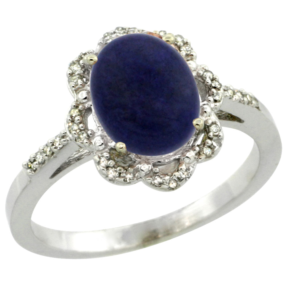 14K White Gold Diamond Halo Natural Lapis Engagement Ring Oval 9x7mm, sizes 5-10