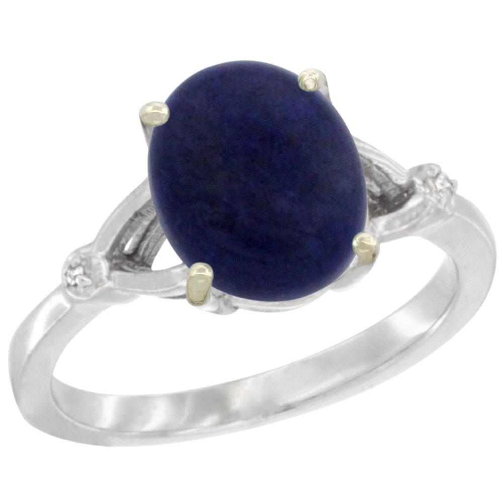 10K White Gold Diamond Natural Lapis Engagement Ring Oval 10x8mm, sizes 5-10