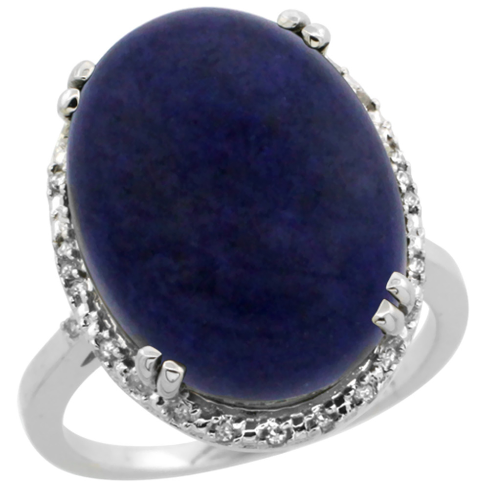 10k White Gold Natural Lapis Ring Large Oval 18x13mm Diamond Halo, sizes 5-10