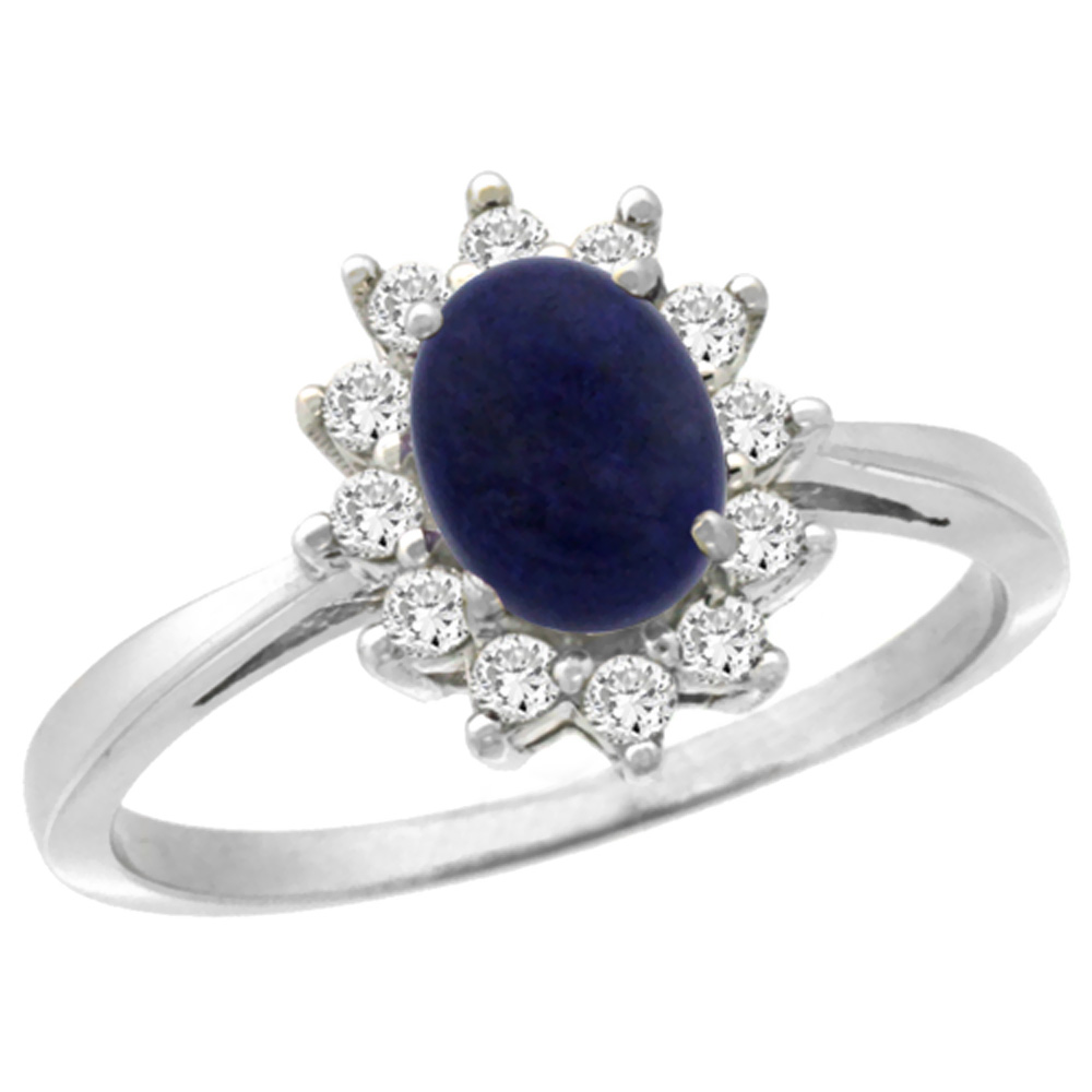 10k White Gold Natural Lapis Engagement Ring Oval 7x5mm Diamond Halo, sizes 5-10