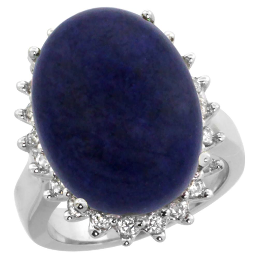 10k White Gold Diamond Halo Natural Lapis Ring Large Oval 18x13mm, sizes 5-10