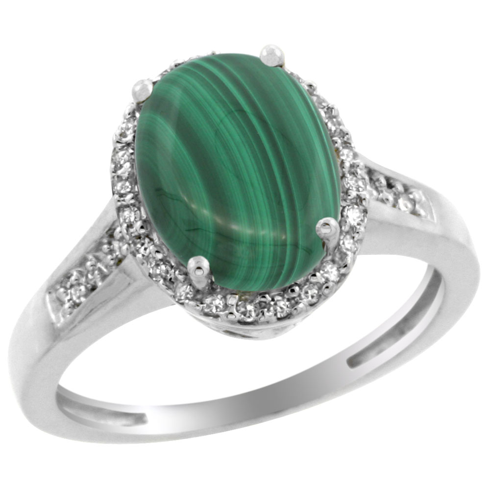 14K White Gold Diamond Natural Malachite Engagement Ring Oval 10x8mm, sizes 5-10