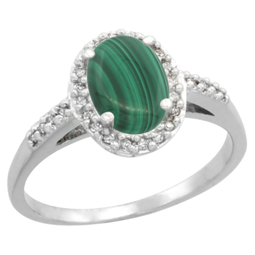 14K White Gold Diamond Natural Malachite Ring Oval 8x6mm, sizes 5-10