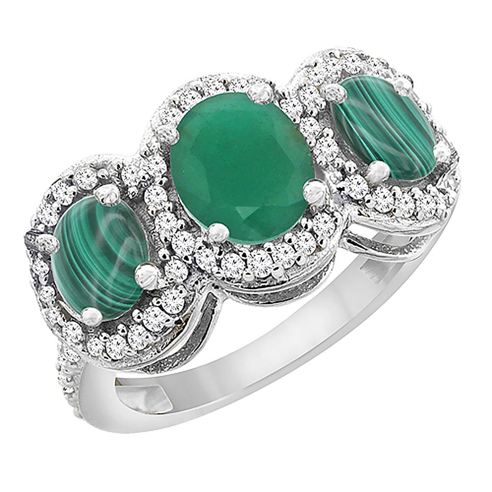 14K White Gold Natural Cabochon Emerald & Malachite 3-Stone Ring Oval Diamond Accent, sizes 5 - 10