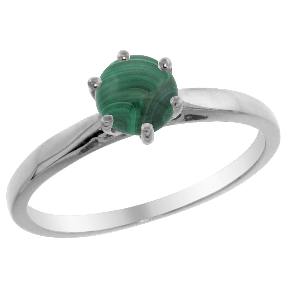 14K Yellow Gold Natural Malachite Solitaire Ring Round 5mm, sizes 5 - 10