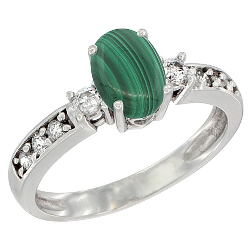 14K Yellow Gold Natural Malachite Ring Oval 7x5 mm Diamond Accent, sizes 5 - 10