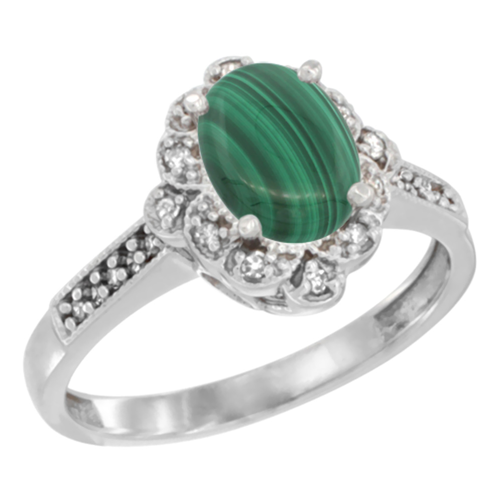 14K Yellow Gold Natural Malachite Ring Oval 8x6 mm Floral Diamond Halo, sizes 5 - 10