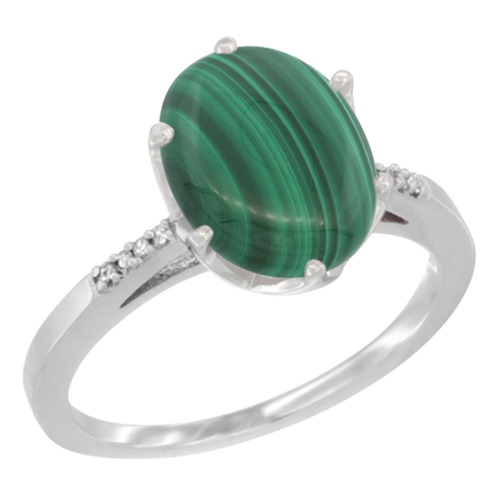 14K Yellow Gold Natural Malachite Engagement Ring 10x8 mm Oval, sizes 5 - 10