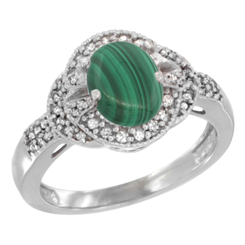 14K Yellow Gold Natural Malachite Ring Oval 8x6 mm Diamond Accent, sizes 5 - 10