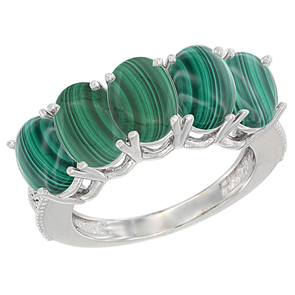 14K Yellow Gold Natural Malachite 0.75 ct. Oval 7x5mm 5-Stone Mother's Ring with Diamond Accents, sizes 5 to 10 with half sizes